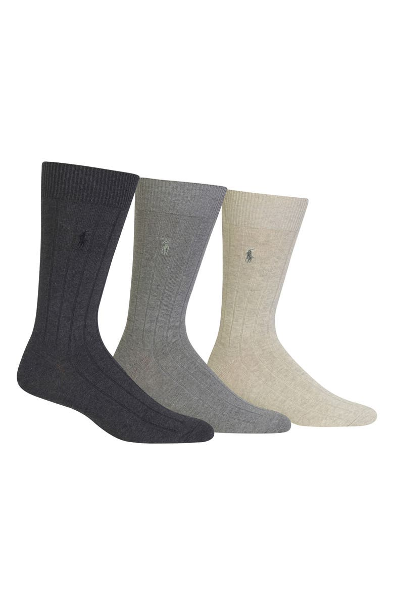 POLO RALPH LAUREN 3-Pack Crew Socks, Main, color, CHARCOAL HEATHER/ GREY