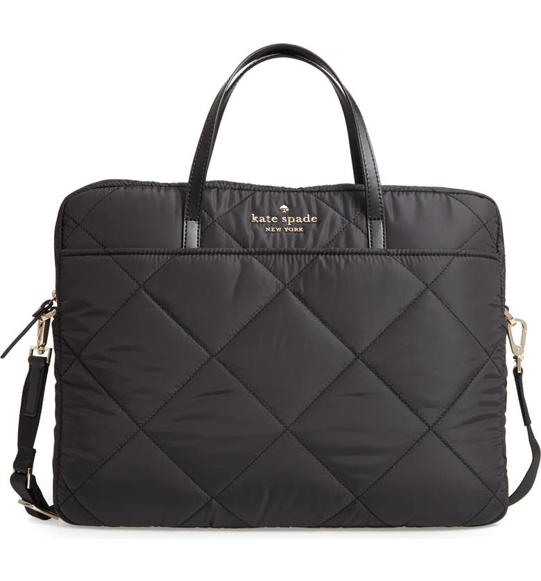 KATE SPADE NEW YORK quilted nylon universal laptop commuter bag, Main, color, 001