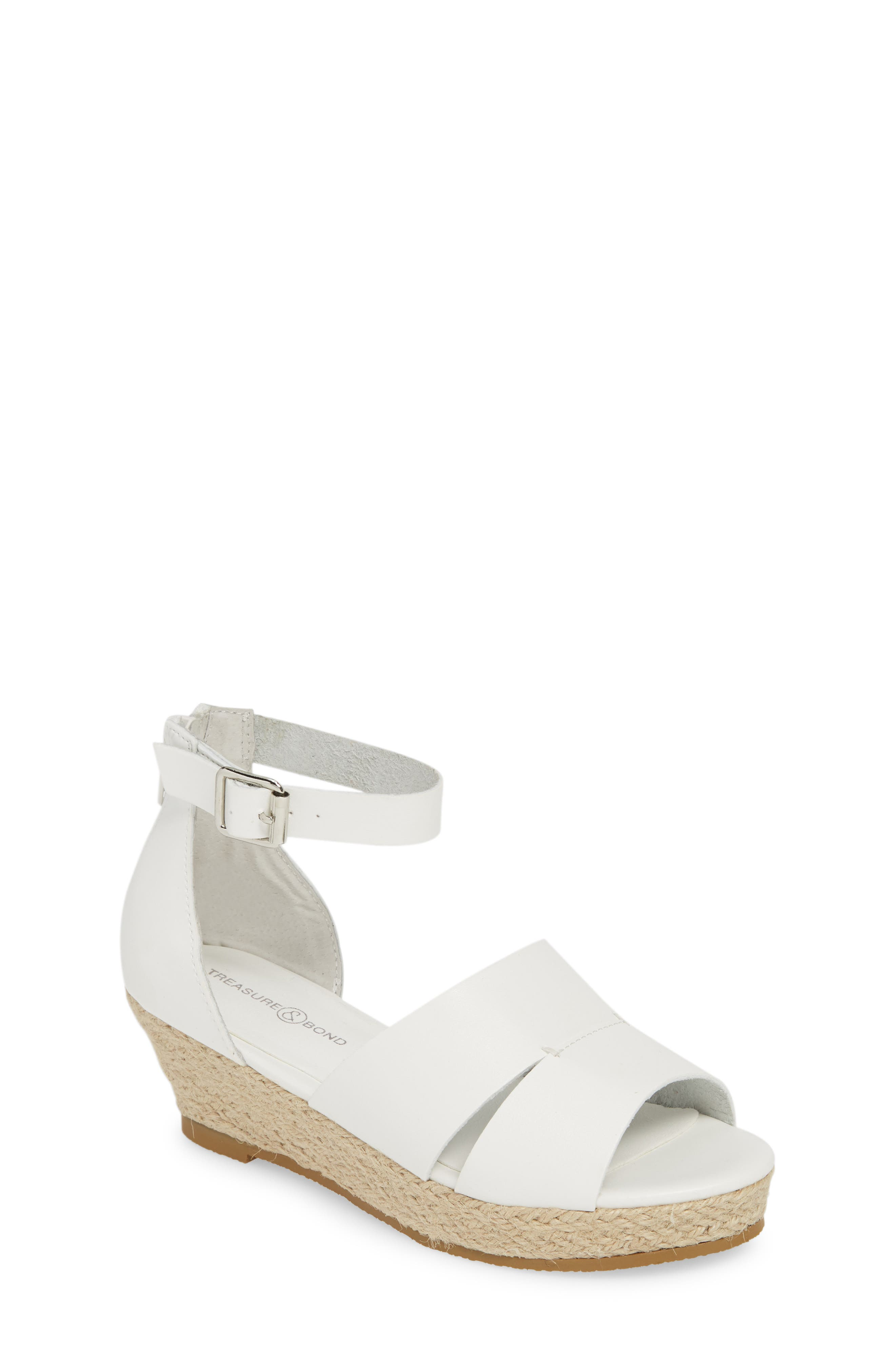Espadrille Wedge Sandal, Main, color, WHITE FAUX LEATHER