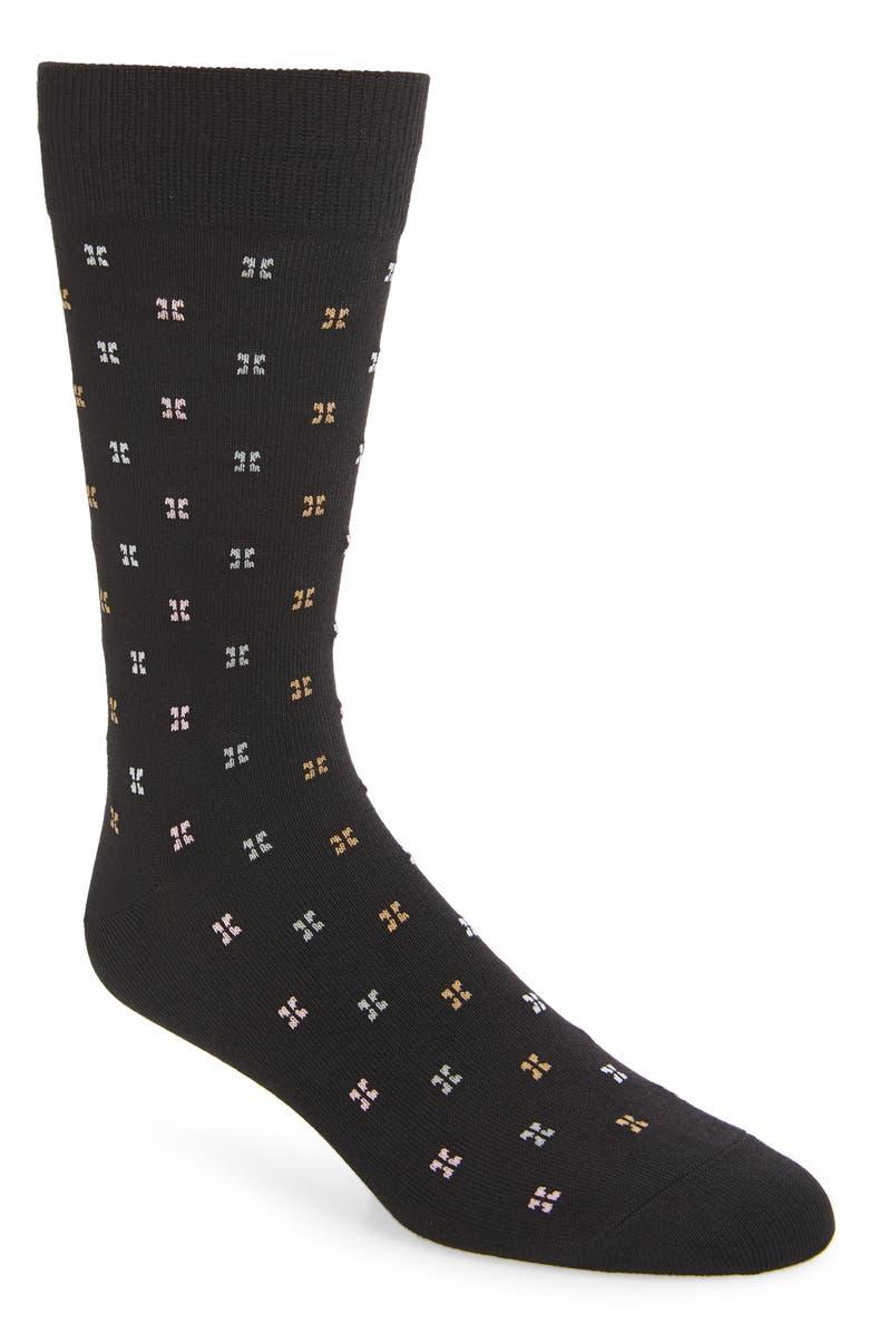 NORDSTROM MEN'S SHOP Microprint Ultrasoft Socks, Main, color, BLACK MULTI