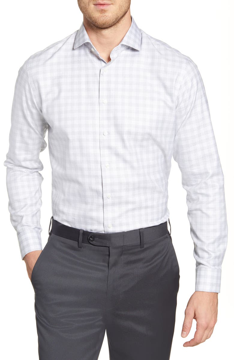 NORDSTROM MEN'S SHOP Trim Fit Plaid Dress Shirt, Main, color, GREY MONUMENT