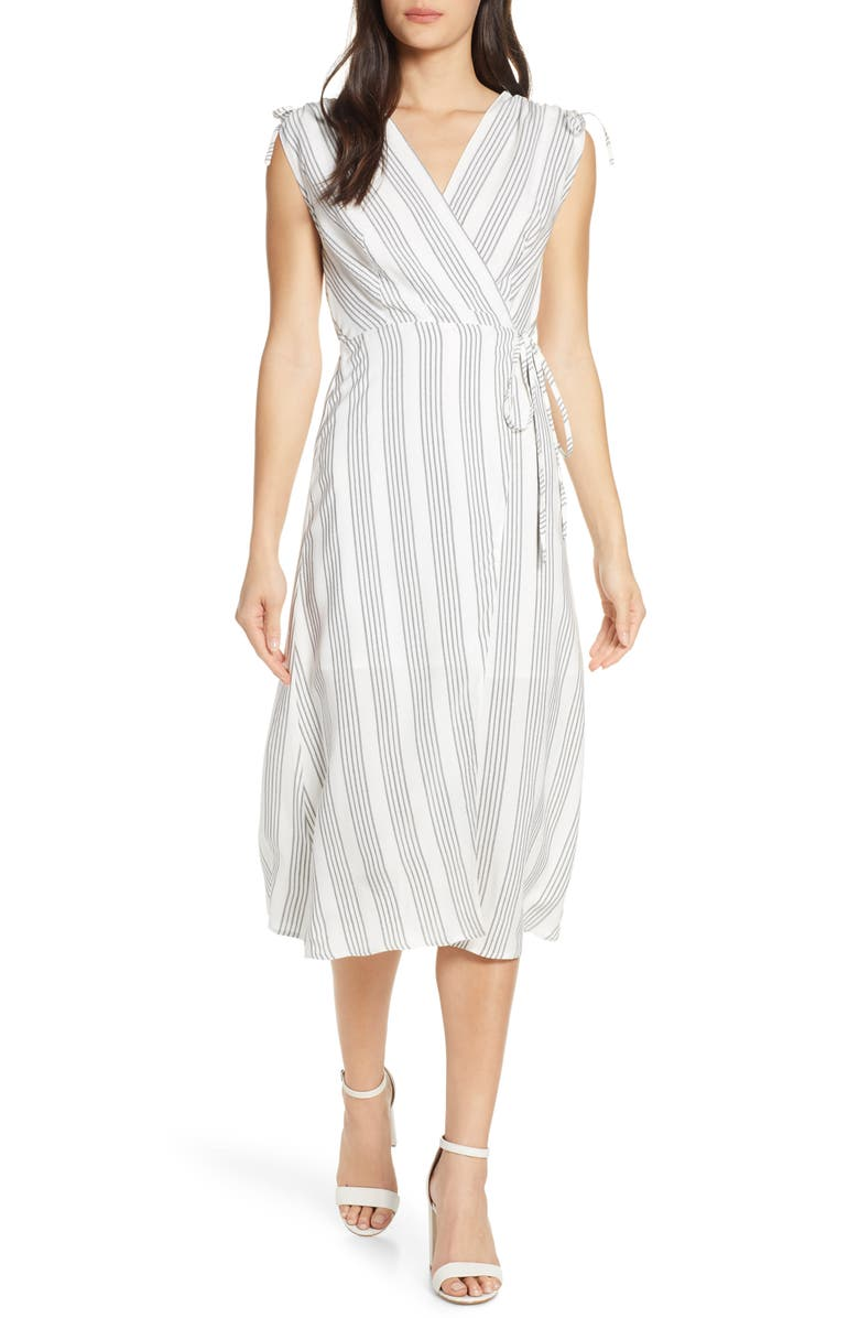 ALI & JAY Pershing Square Midi Wrap Dress, Main, color, BLACK/ WHITE