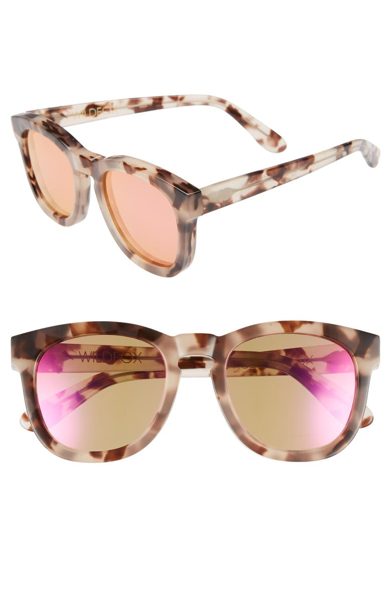 WILDFOX Classic Fox - Deluxe 59mm Sunglasses, Main, color, ANTIQUE LEAVES/ PINK MIRROR