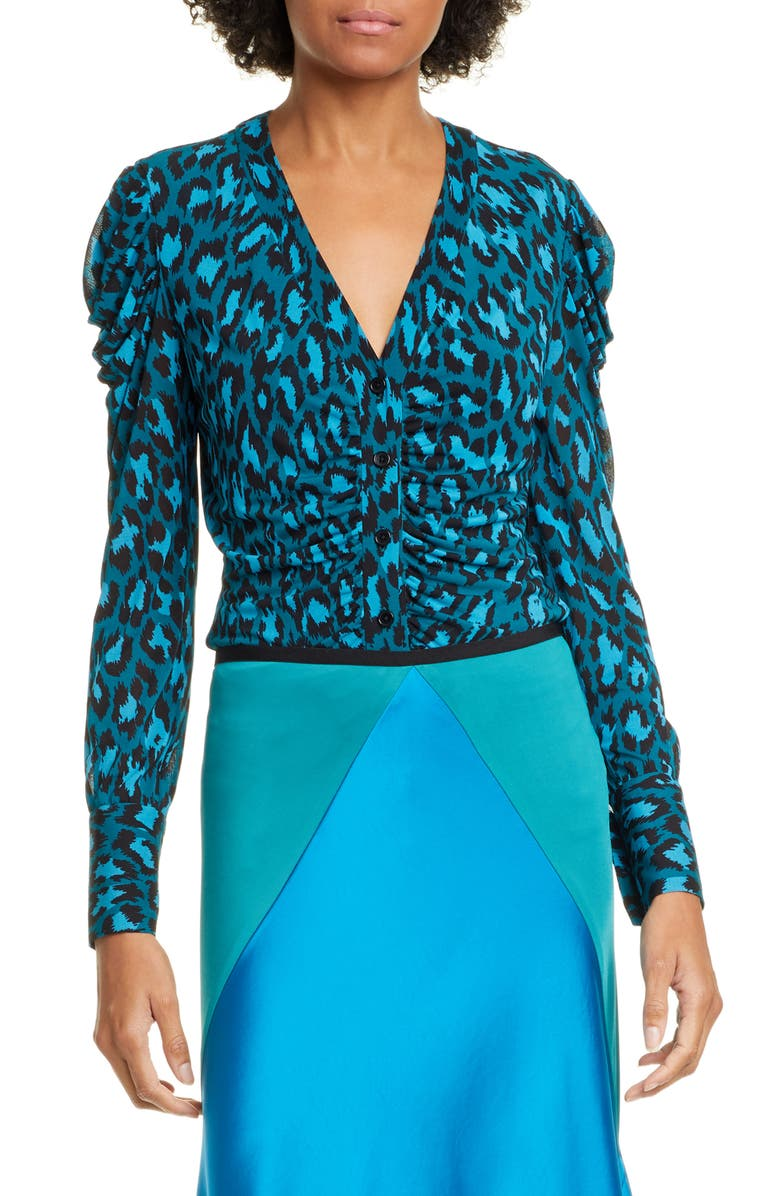 DVF Gladys Ruched Sleeve Leopard Print Blouse, Main, color, NATURAL LEOPARD EVERGREEN