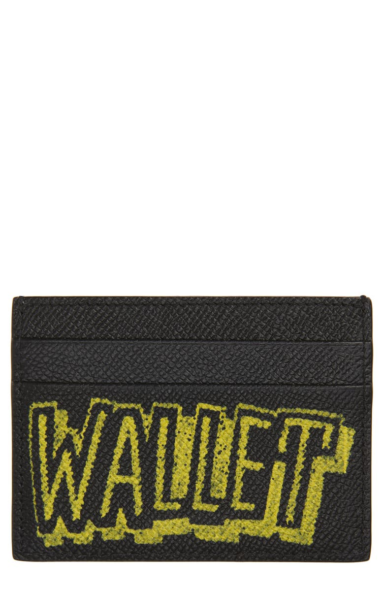 BALENCIAGA Ville Graffiti Leather Card Case, Main, color, BLACK/FLUO YELLOW