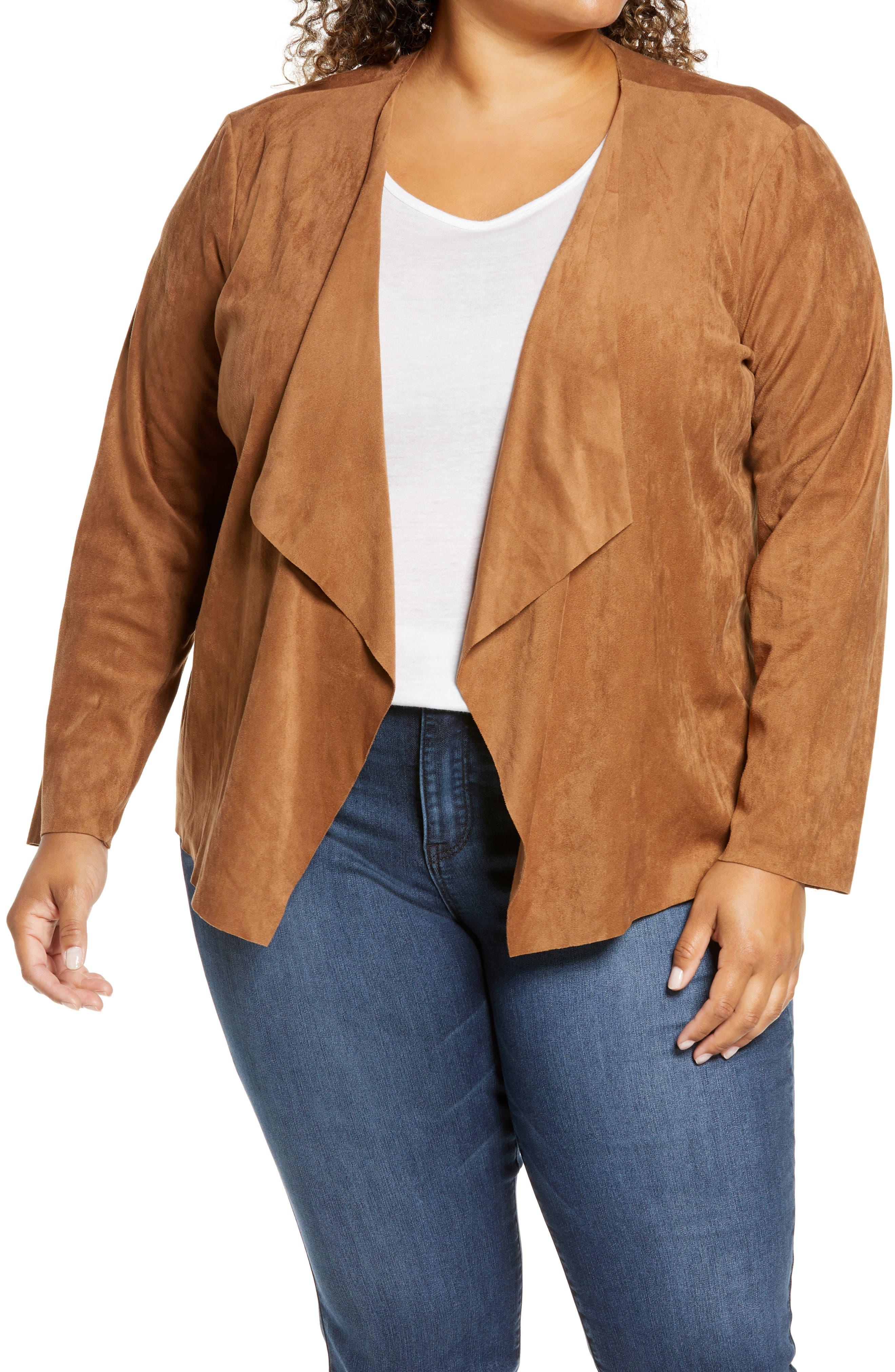 BB Dakota Drape Front Faux Suede Jacket (Plus Size) | Nordstrom