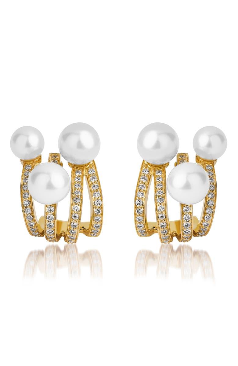 HUEB Spectrum Pearl Huggie Earrings, Main, color, YELLOW GOLD