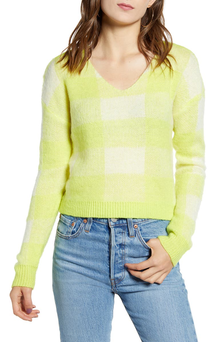 TEN SIXTY SHERMAN Neon Check Sweater, Main, color, YELLOW NEON