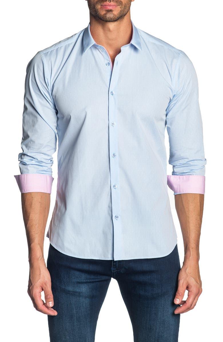 JARED LANG Slim Fit Shirt, Main, color, LIGHT BLUE GINGHAM