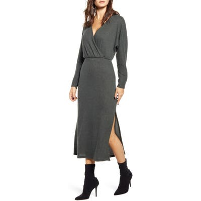 All In Favor Cozy Ribbed Midi Dress, Green