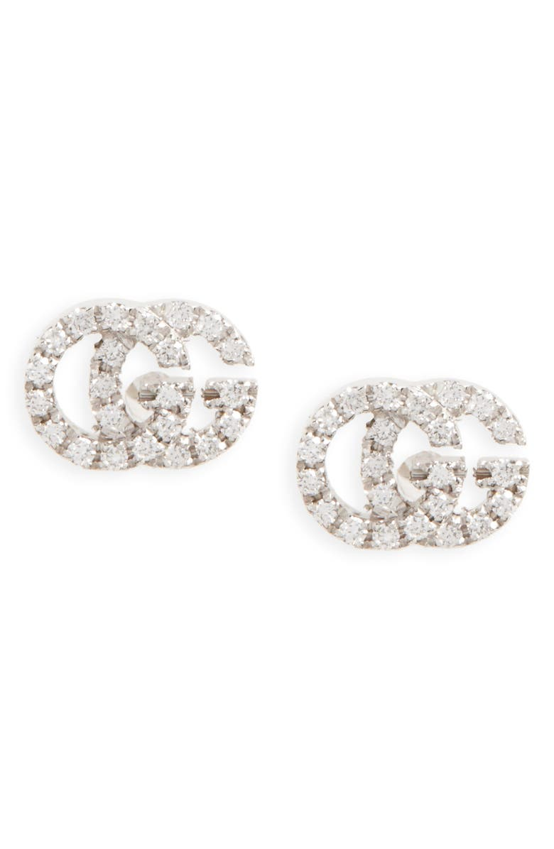 GUCCI Double-G Diamond Stud Earrings, Main, color, WHITE GOLD