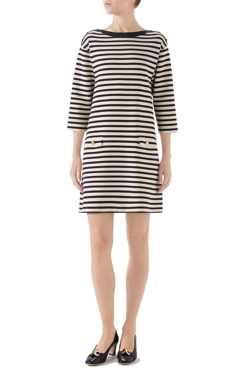 GUCCI Stripe Knit Wool Dress, Main, color, IVORY/ BLACK