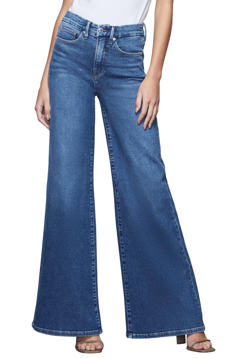 GOOD AMERICAN Good Pallazo Wide Leg Jeans, Main, color, 401