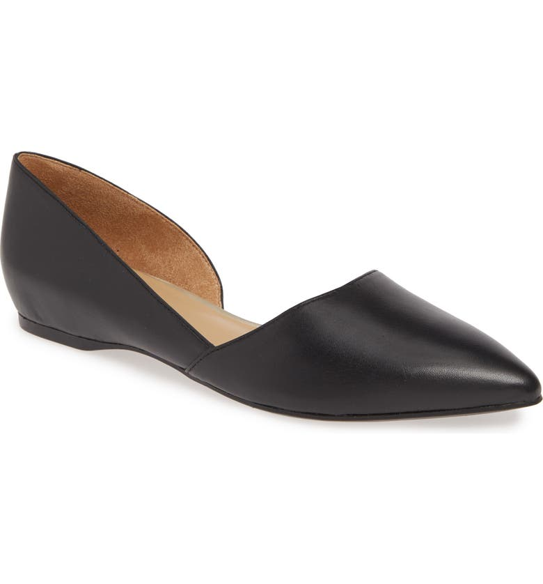 NATURALIZER Samantha Half d'Orsay Flat, Main, color, BLACK LEATHER
