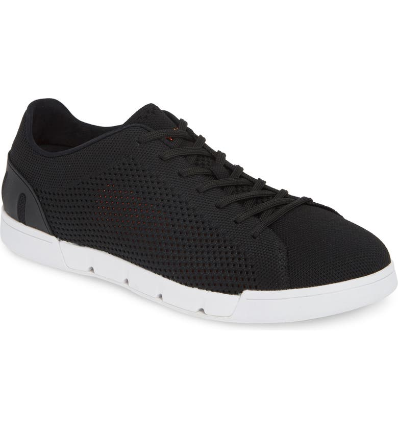 SWIMS Breeze Tennis Washable Knit Sneaker, Main, color, BLACK/ WHITE FABRIC