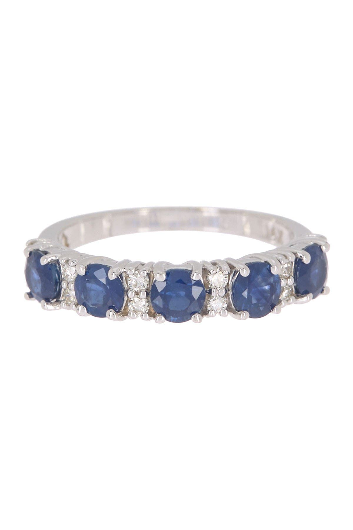 Image of Effy 14K White Gold Prong Set Blue Sapphire & Diamond Accent Ring - Size 7