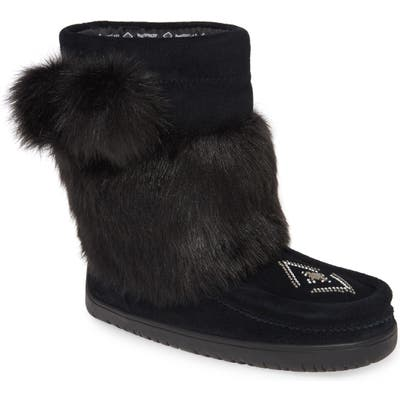 Manitobah Mukluks Faux Fur & Waterproof Snow Boot, Black