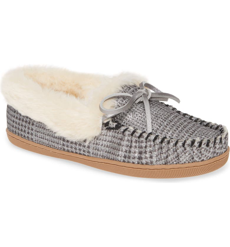 J.CREW Lodge Genuine Shearling Moccasin, Main, color, 020