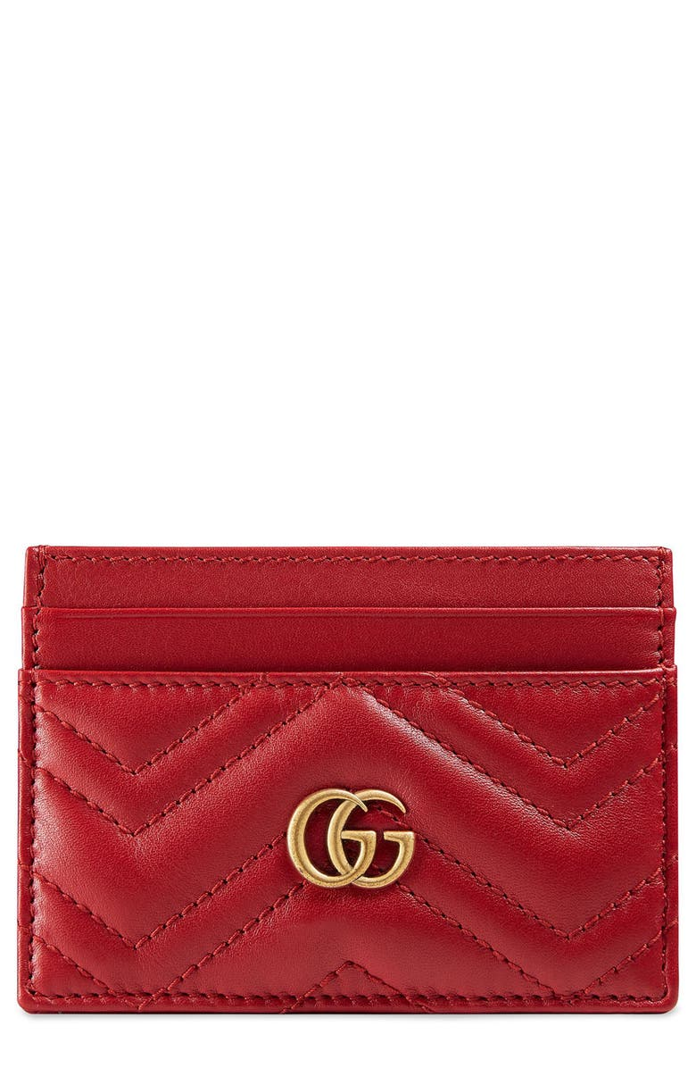 GUCCI GG Marmont Matelassé Leather Card Case, Main, color, HIBISCUS RED