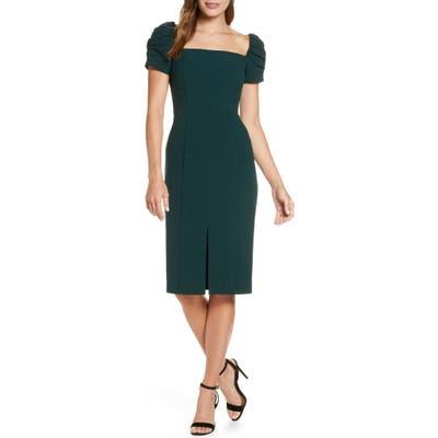 Petite Eliza J Square Neck Sheath Dress, Green