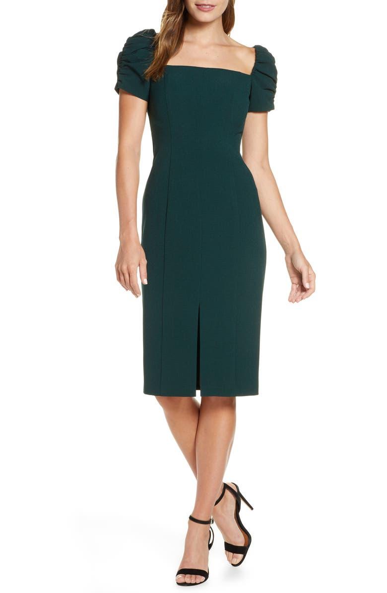ELIZA J Square Neck Sheath Dress, Main, color, GREEN