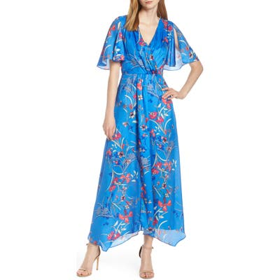 Harlyn Printed Flutter Sleeve Gown, Blue