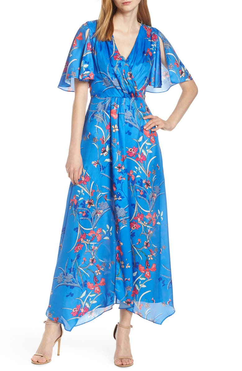 HARLYN Printed Flutter Sleeve Gown, Main, color, BLUE ASTER MULTI