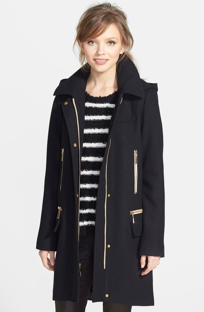 VINCE CAMUTO Long Wool Blend Duffle Coat, Main, color, 001