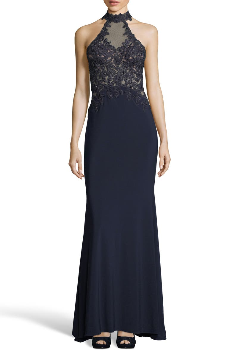 Xscape Embroidered High Neck Illusion Maxi Dress