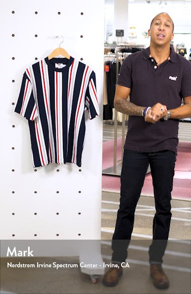 Stripe Short Sleeve Velour Sweatshirt, sales video thumbnail