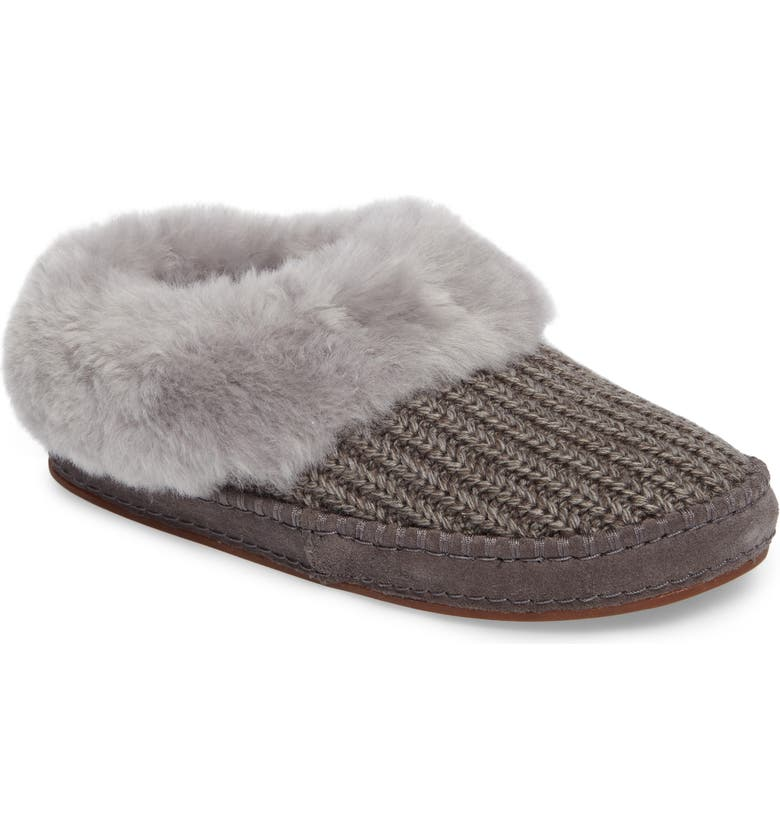 UGG<SUP>®</SUP> Wrin Rib-Knit & Genuine Shearling Slipper, Main, color, 020