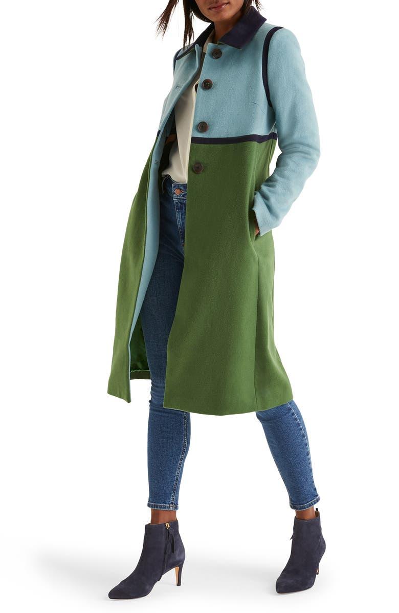 Lovelace Colorblock Wool Blend Coat by Boden