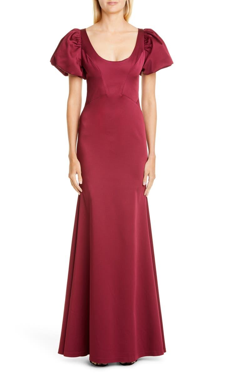 ZAC ZAC POSEN Erin Scoop Neck Gown, Main, color, RED VELVET
