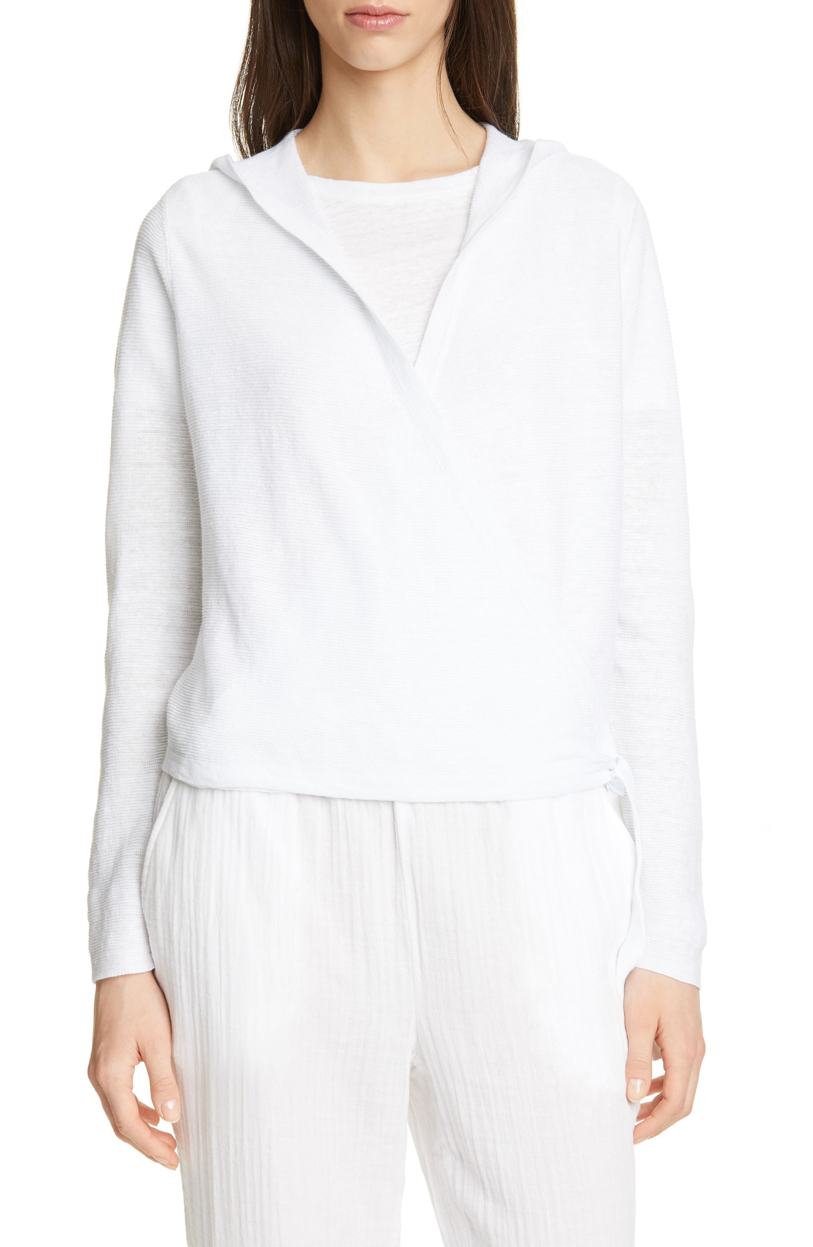 Eileen Fisher Organic Linen Knit Hooded Wrap Cardigan, White