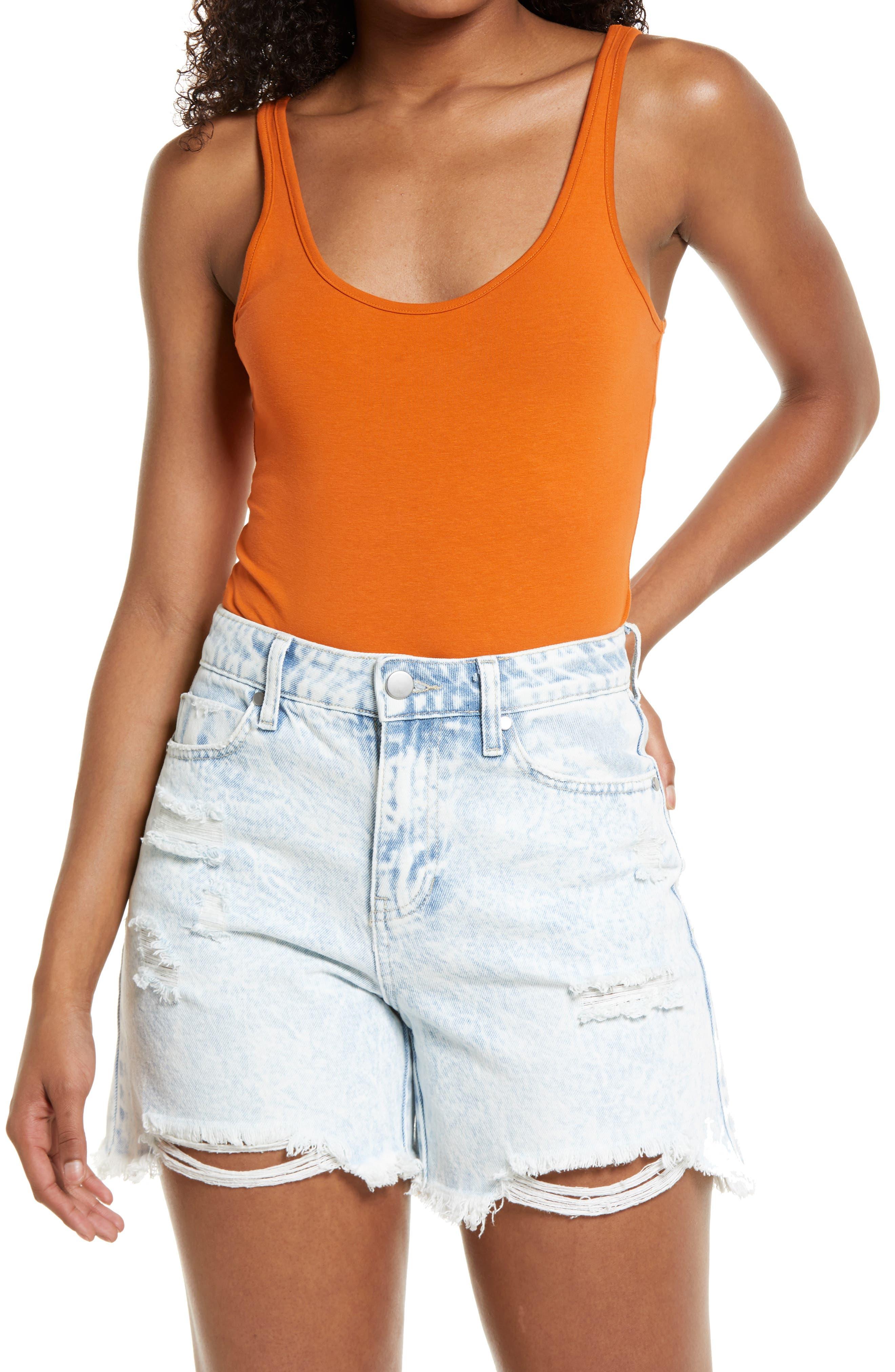 Double Scoop Stretch Cotton Bodysuit