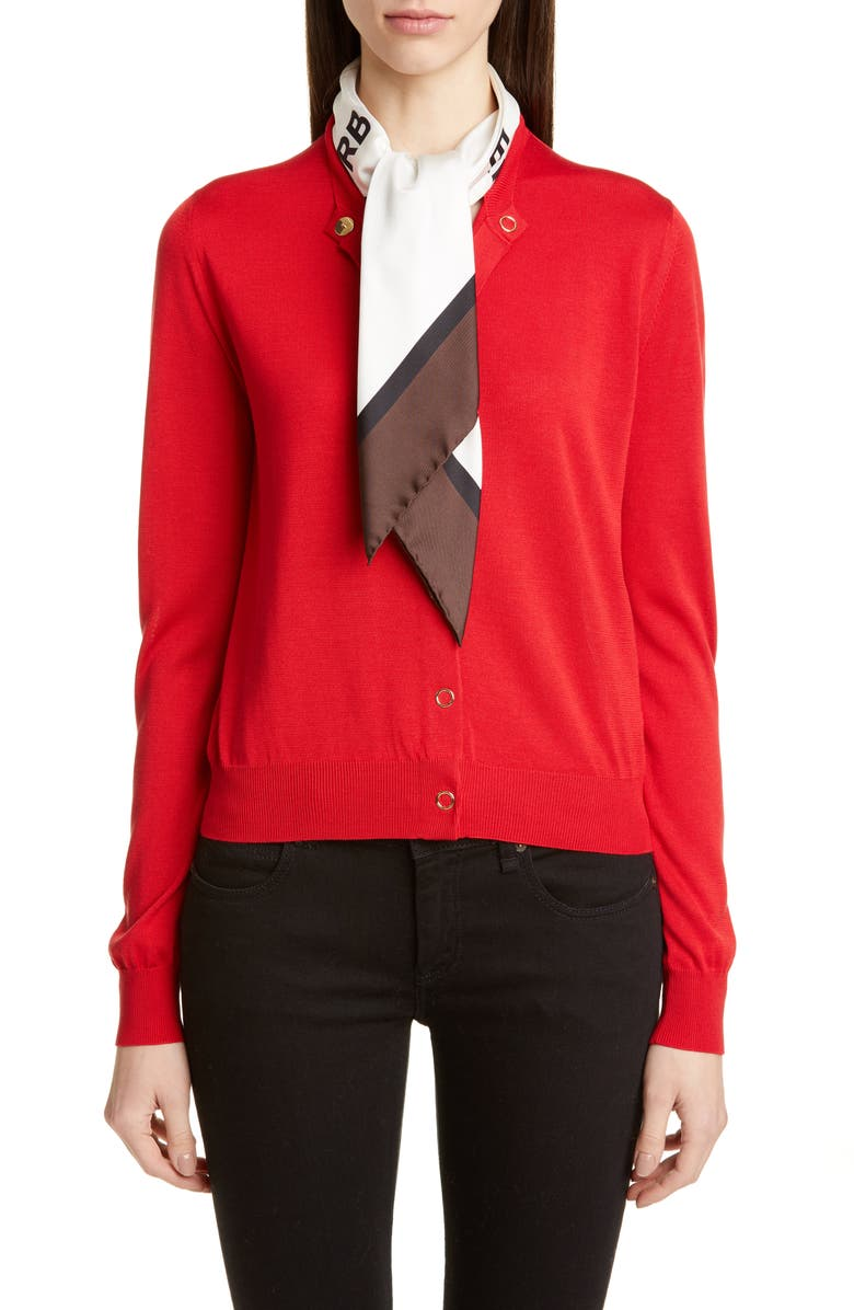 BURBERRY Silk Cardigan with Horseferry Print Scarf, Main, color, BRIGHT RED