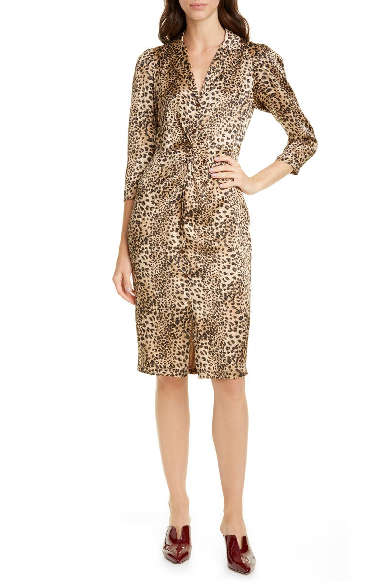 REBECCA TAYLOR Animal Print Hammered Silk Dress, Main, color, 200