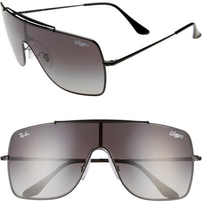 Ray-Ban 135Mm Gradient Shield Sunglasses - Black