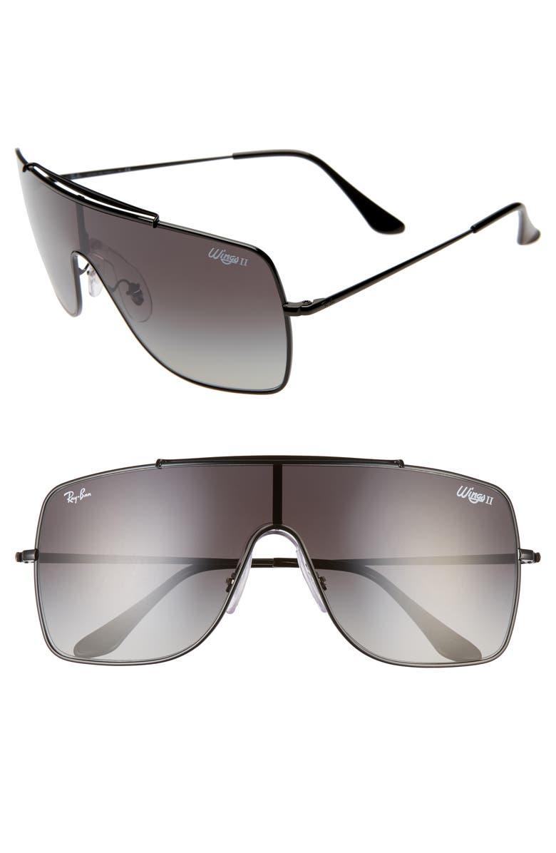 RAY-BAN 135mm Gradient Shield Sunglasses, Main, color, BLACK