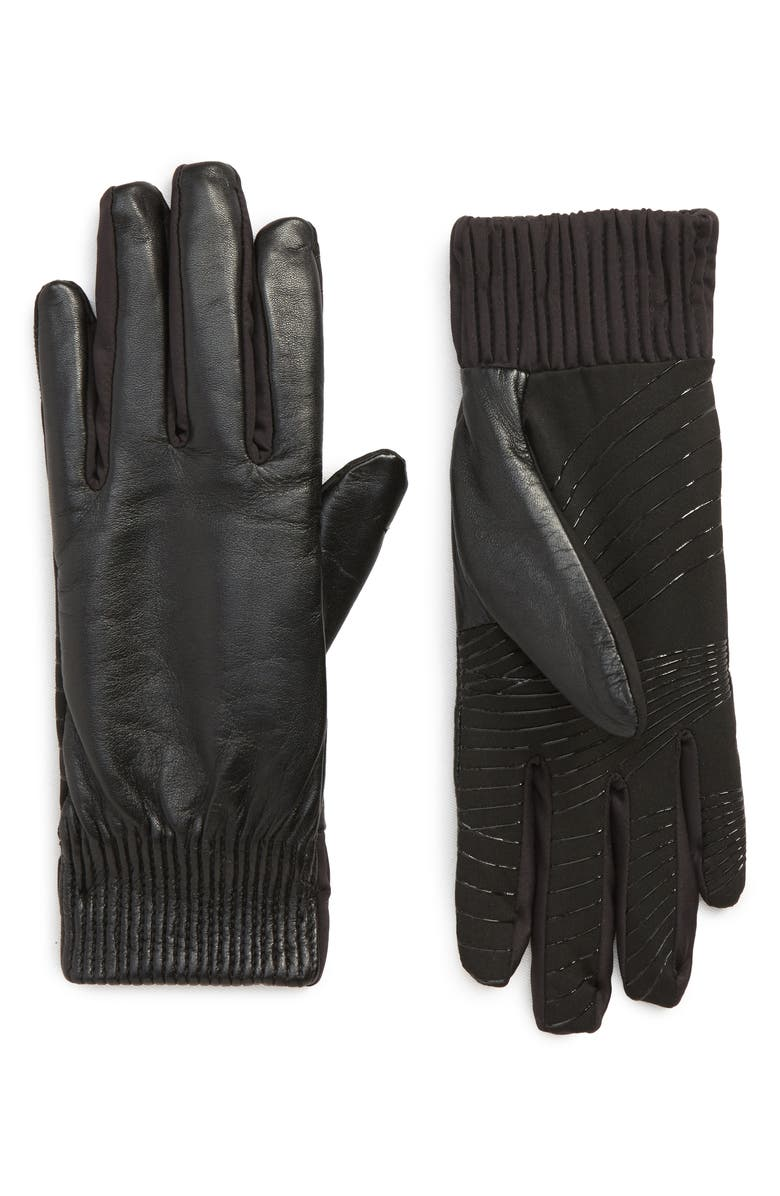U|R Leather Touchscreen Compatible Gloves, Main, color, BLACK