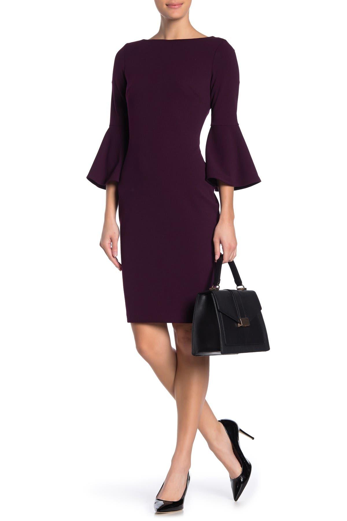 Image of Calvin Klein Bell Sleeve Sheath Dress