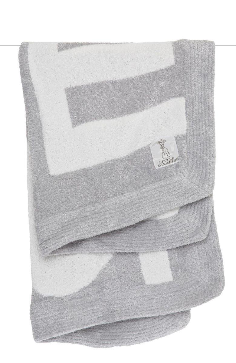 LITTLE GIRAFFE Love Dolce Knit Baby Blanket, Main, color, SILVER