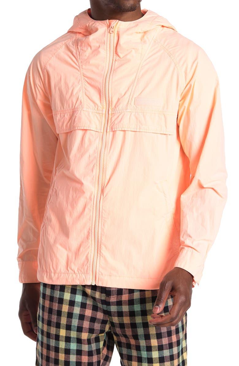 SCOTCH AND SODA Hooded Lightweight Windbreaker Jacket, Main, color, 2537-FLUO ORANGE