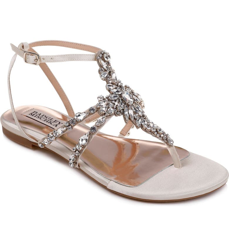 BADGLEY MISCHKA COLLECTION Badgley Mischka Hampden Crystal Embellished Sandal, Main, color, IVORY SATIN