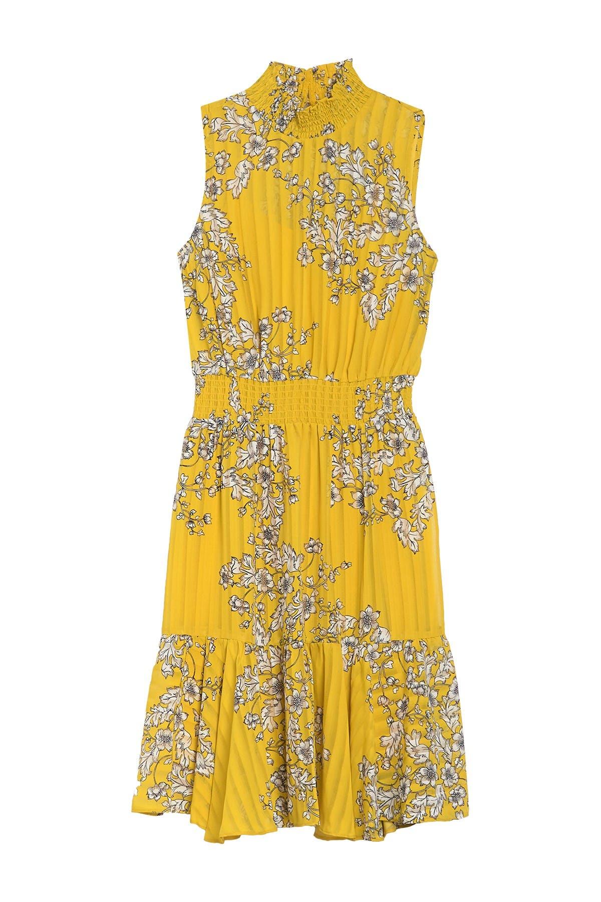 Image of NANETTE nanette lepore Smocked Neck Sleeveless Floral Print Dress