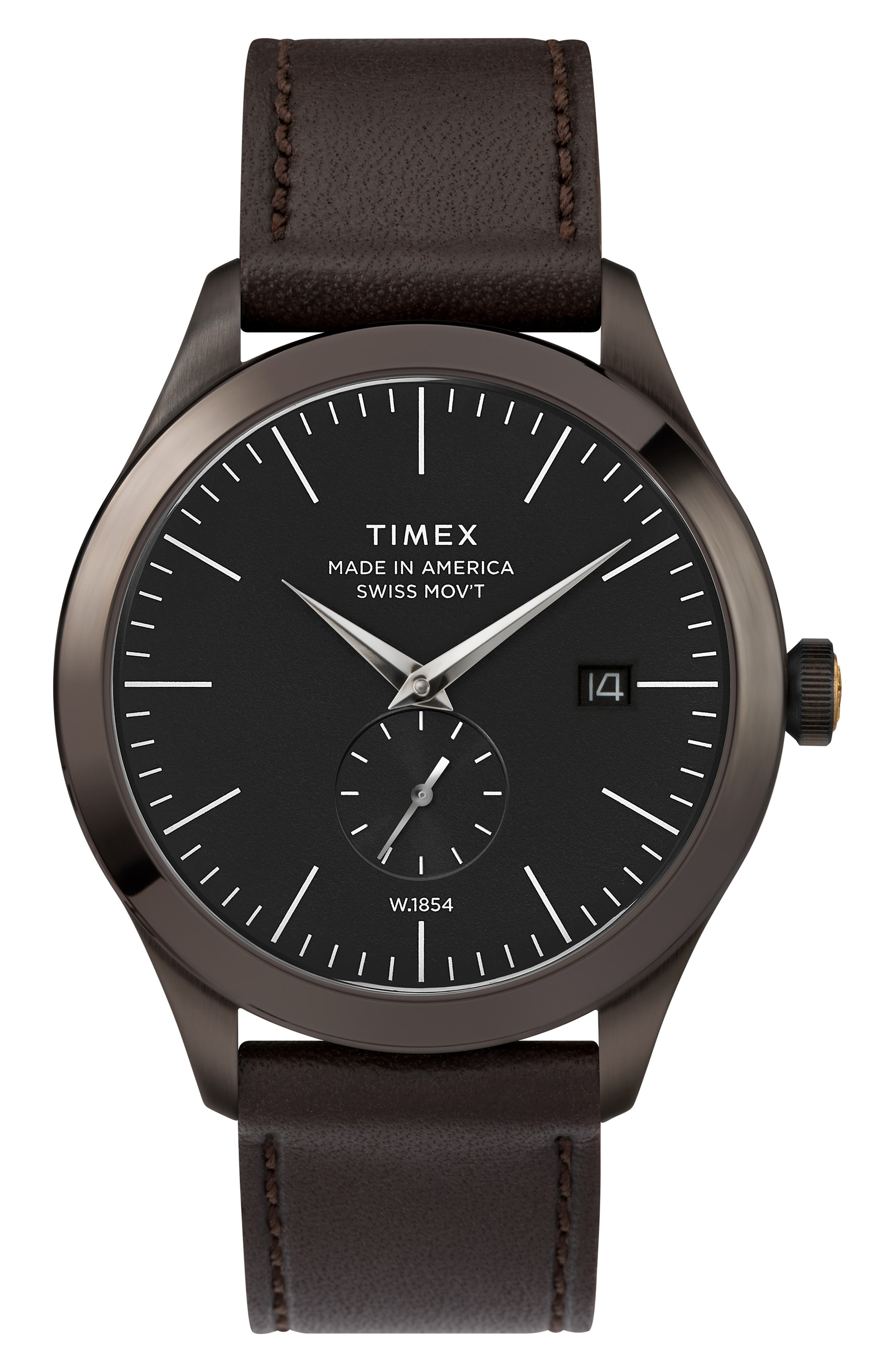 Timex American Documents Leather Strap Watch, 41Mm