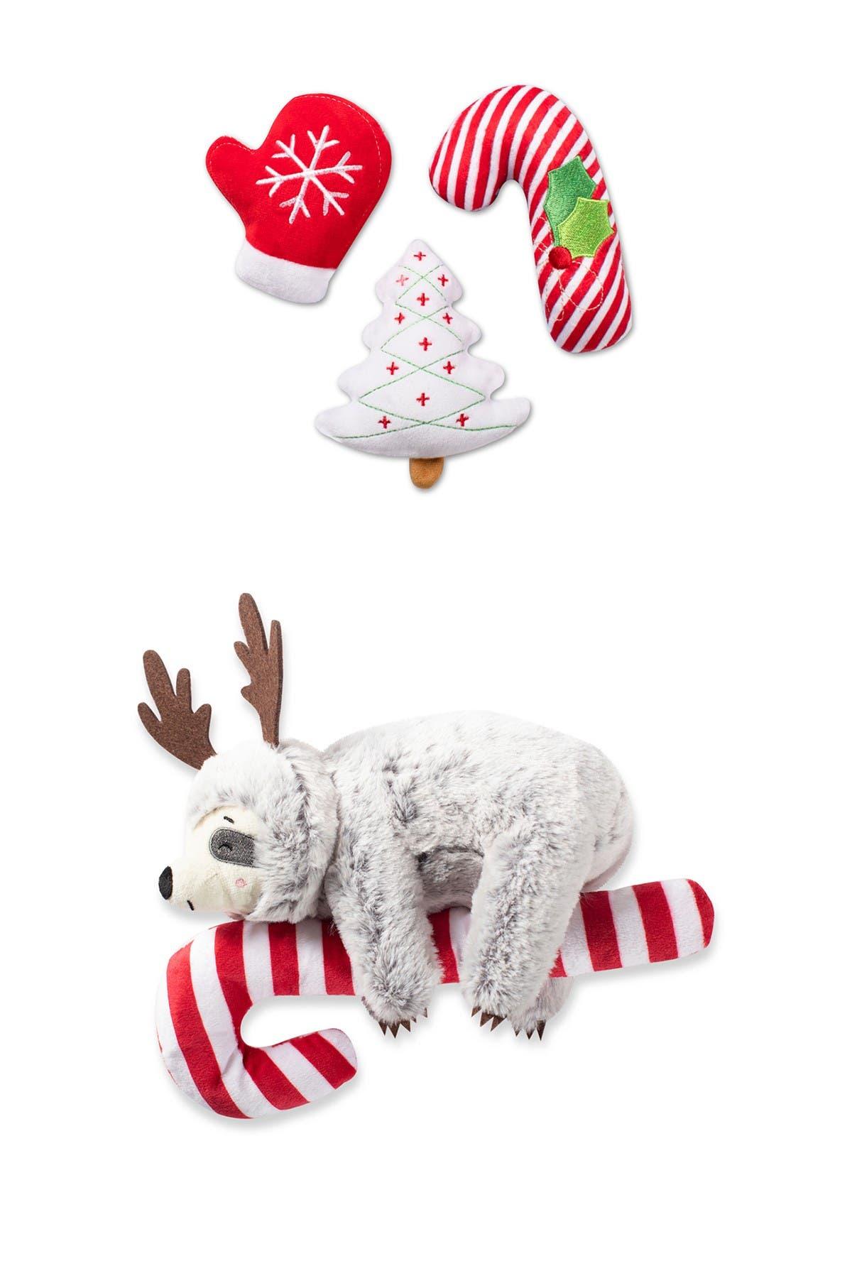 Image of Fringe Studio Sloth Hanging On a Candy Cane and Christmas Icons Mini 4-Piece Dog Toy Set