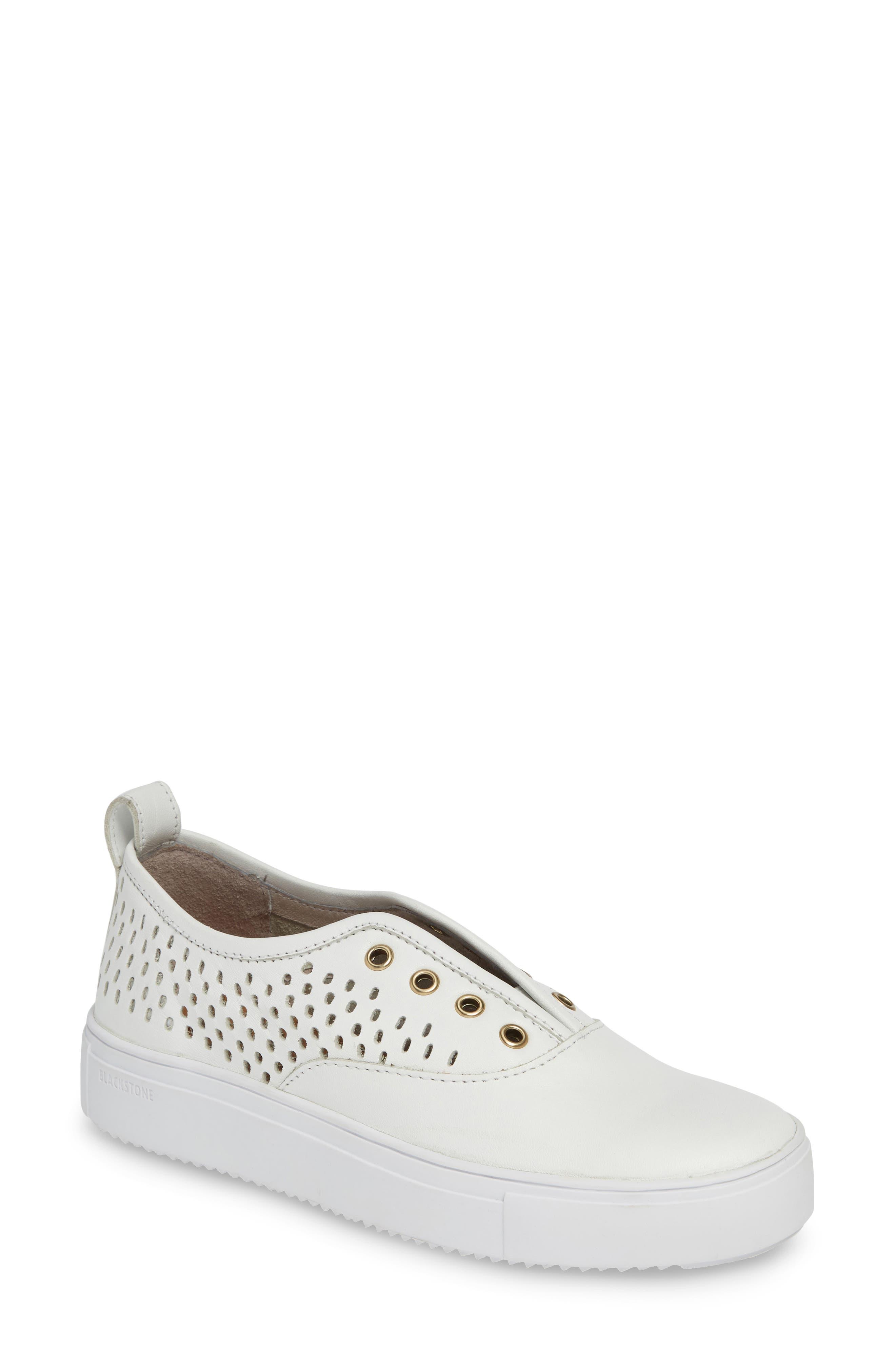 Blackstone Rl67 Laceless Perforated Sneaker, White