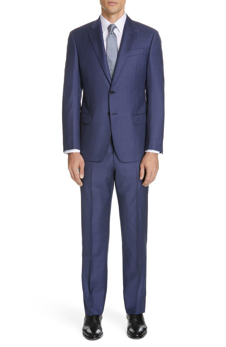 EMPORIO ARMANI Trim Fit Plaid Wool Suit, Main, color, 400