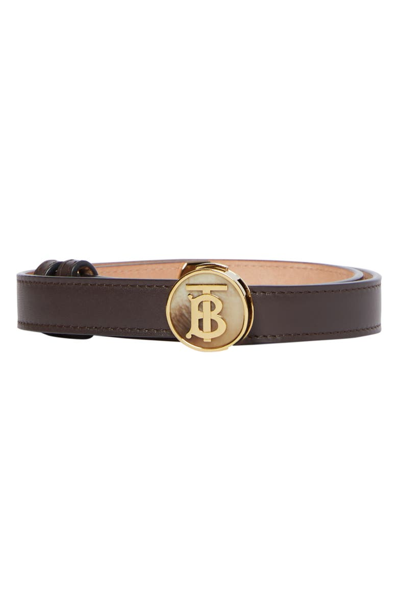 BURBERRY TB Push Lock Leather Belt, Main, color, DEEP BROWN